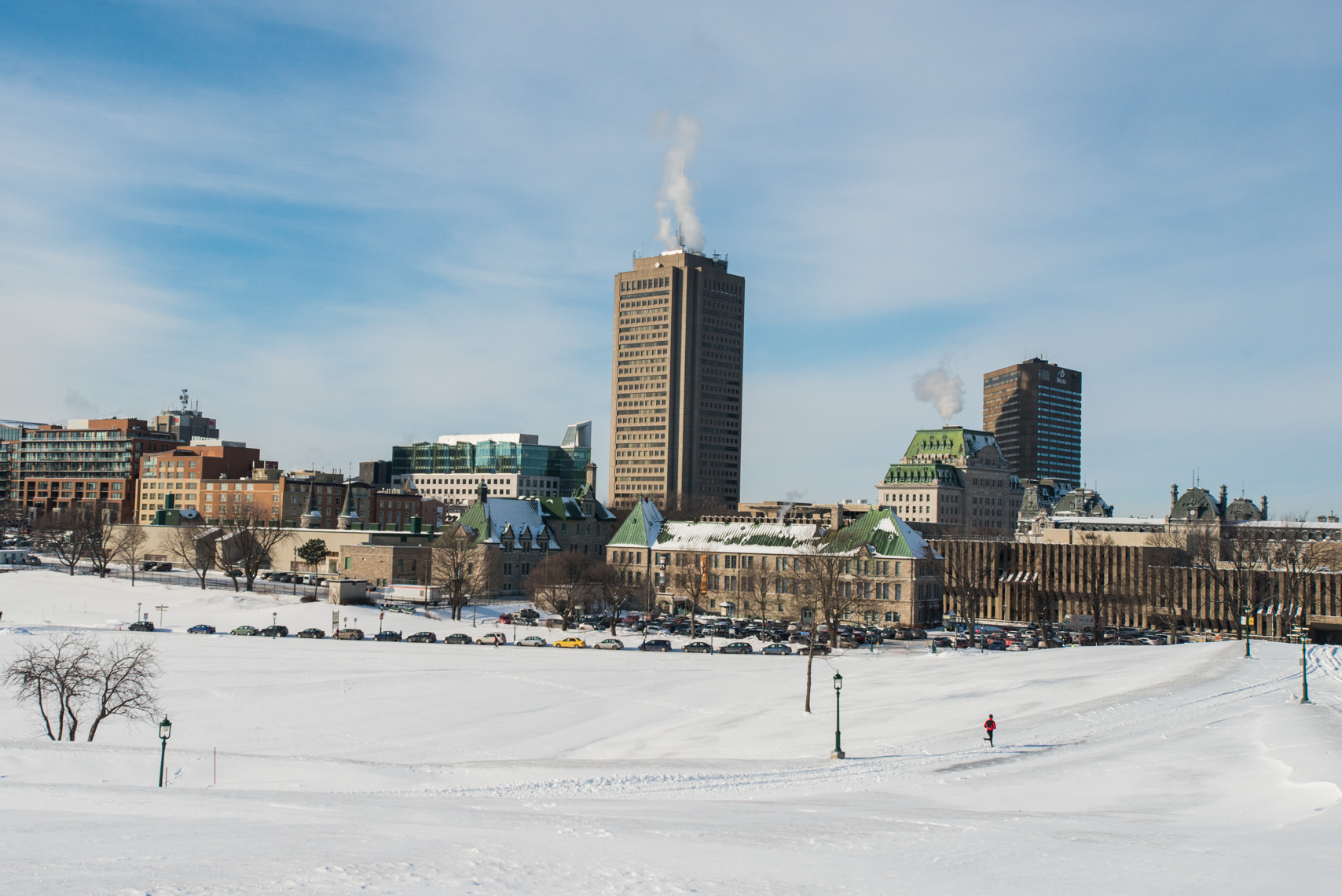 A winter run in Quebec City, Canada.