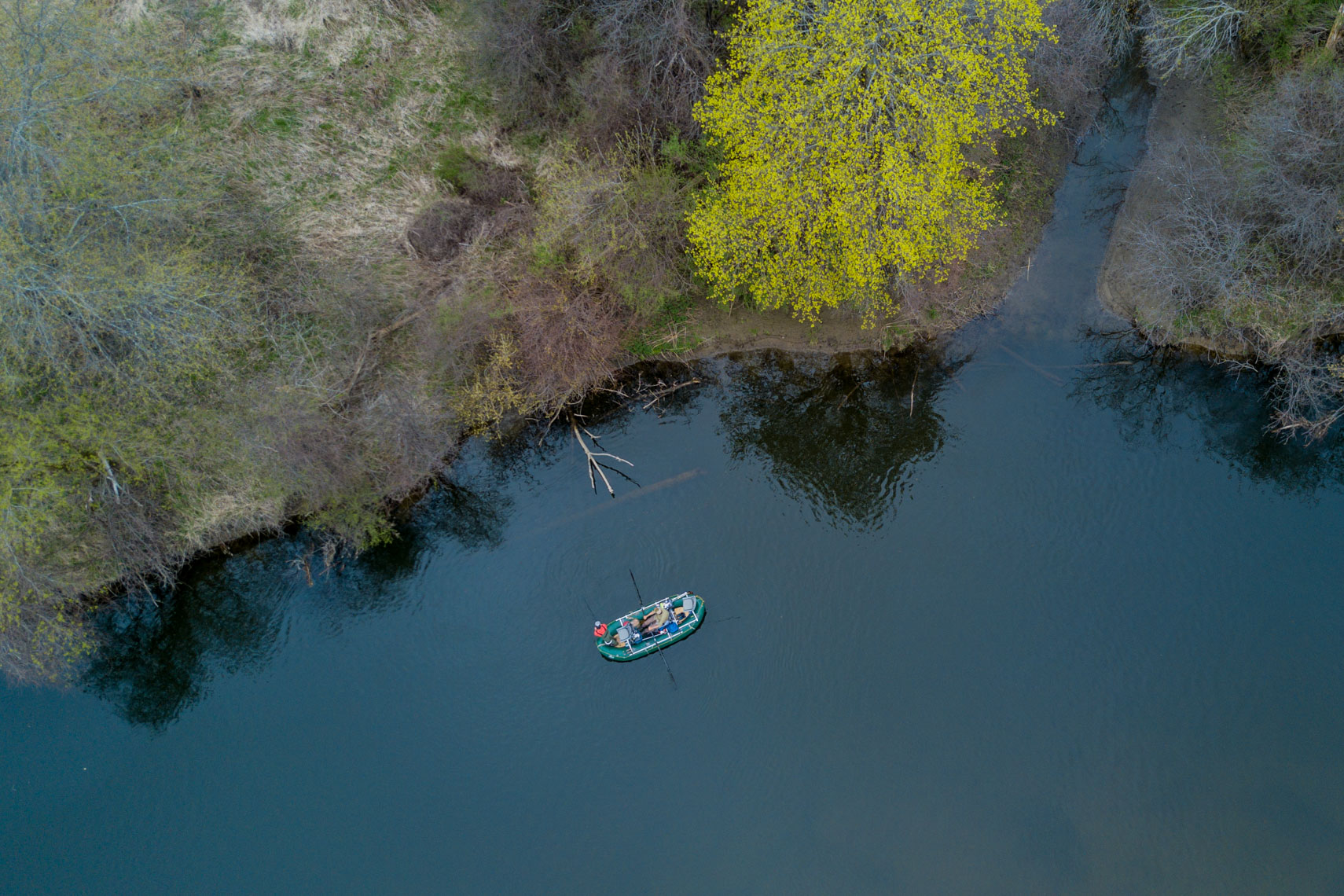 Fly fishing for Pike as seen from above.