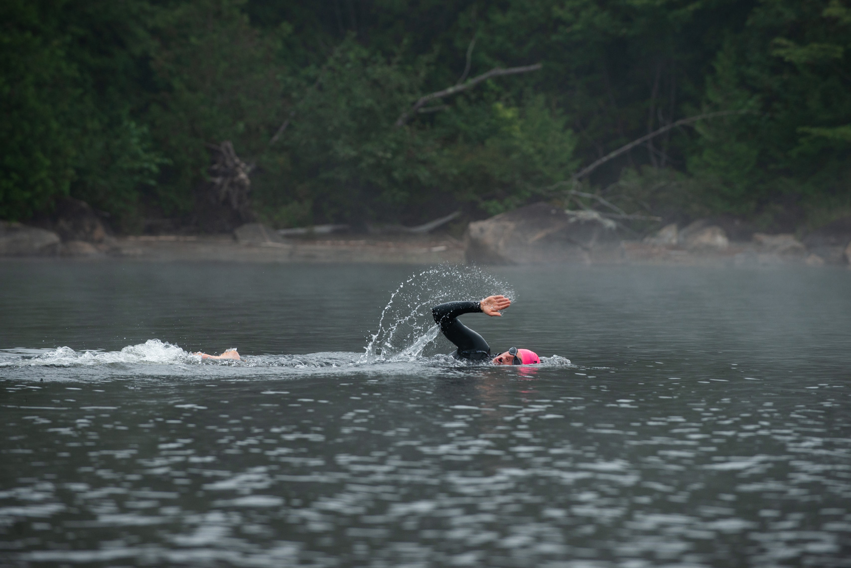 Open water swimming on Lake Umbagog, New Hampshire.