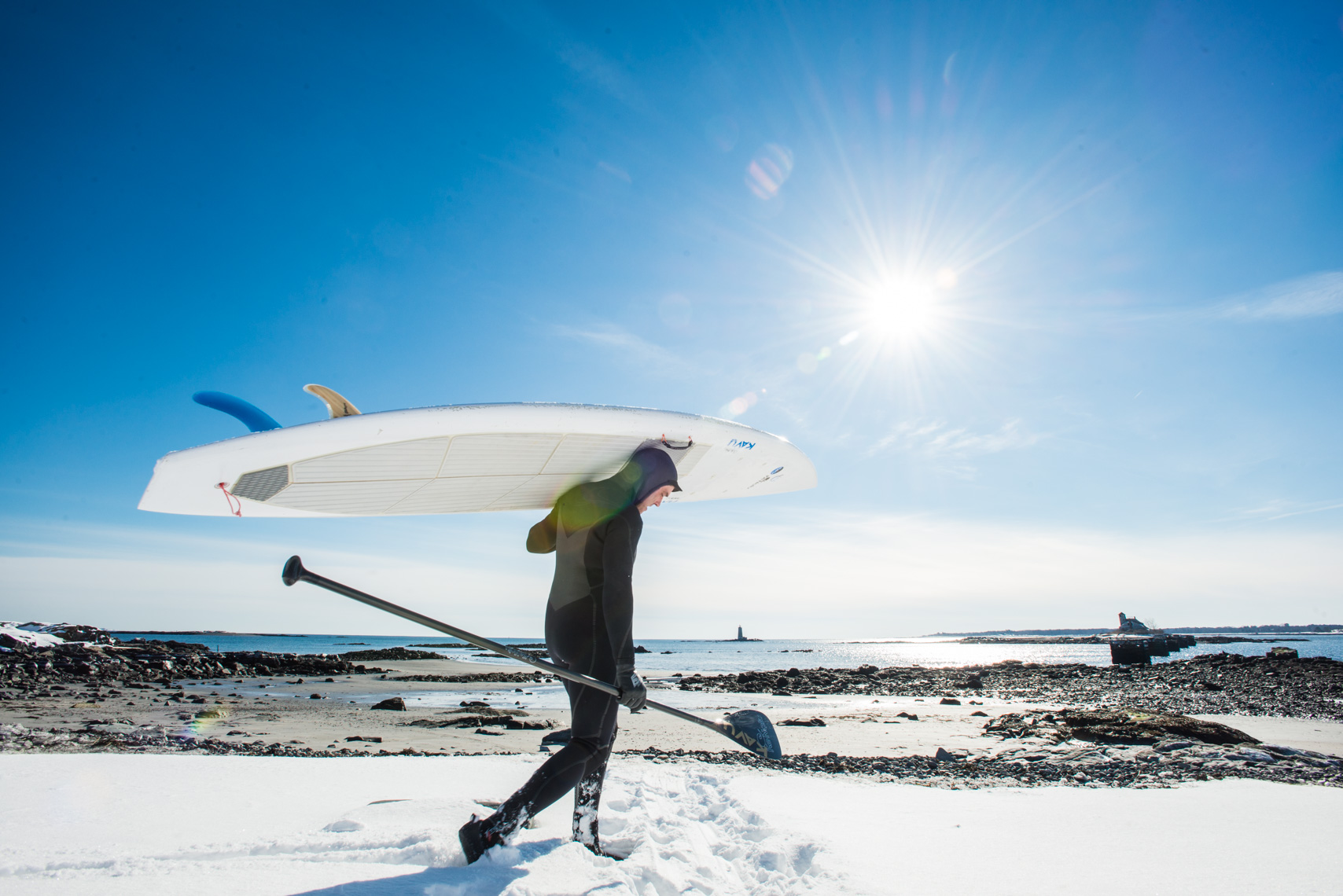 Winter paddle board session on the coast of Maine