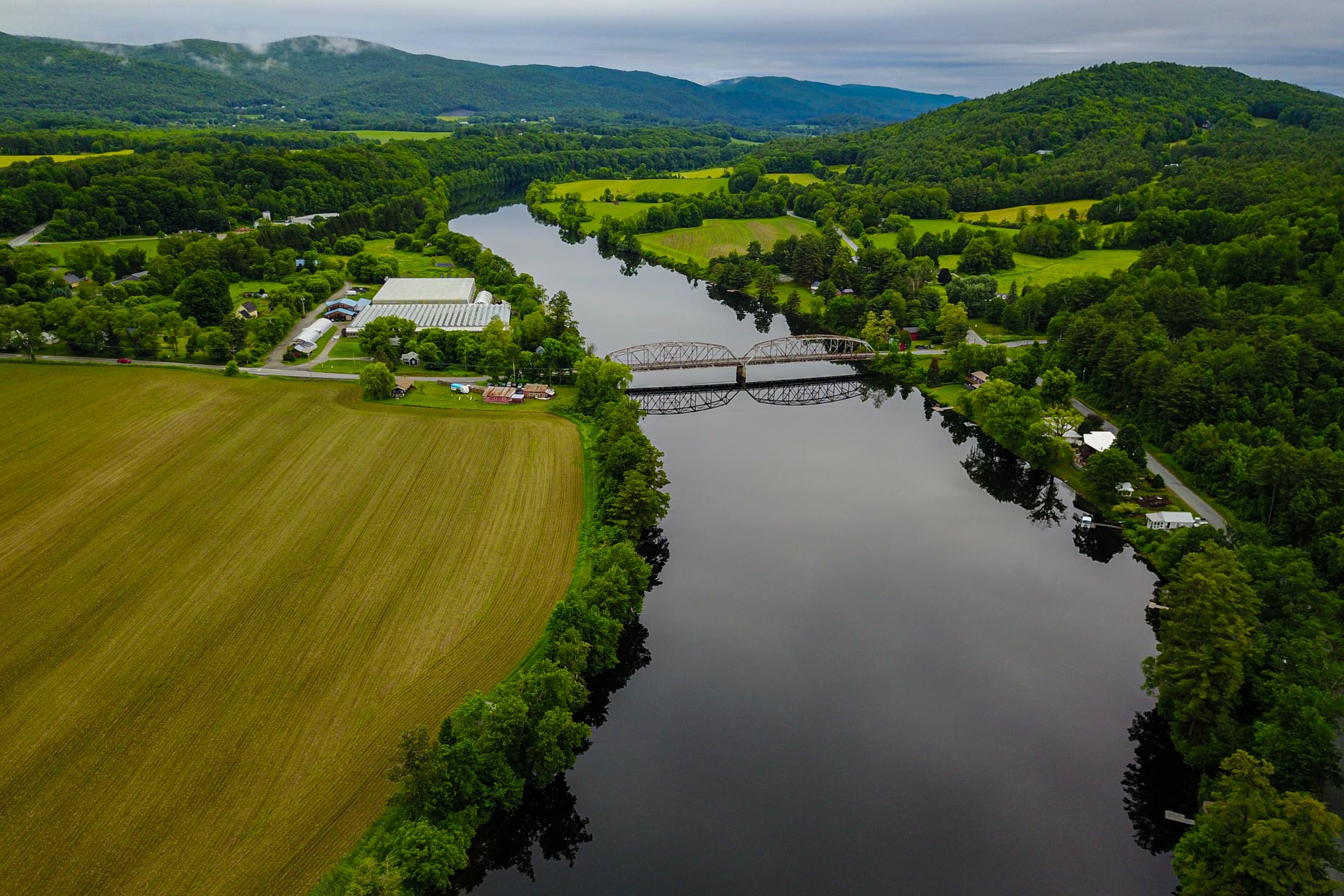 Aerial photograph of the Connecticut River and farms.