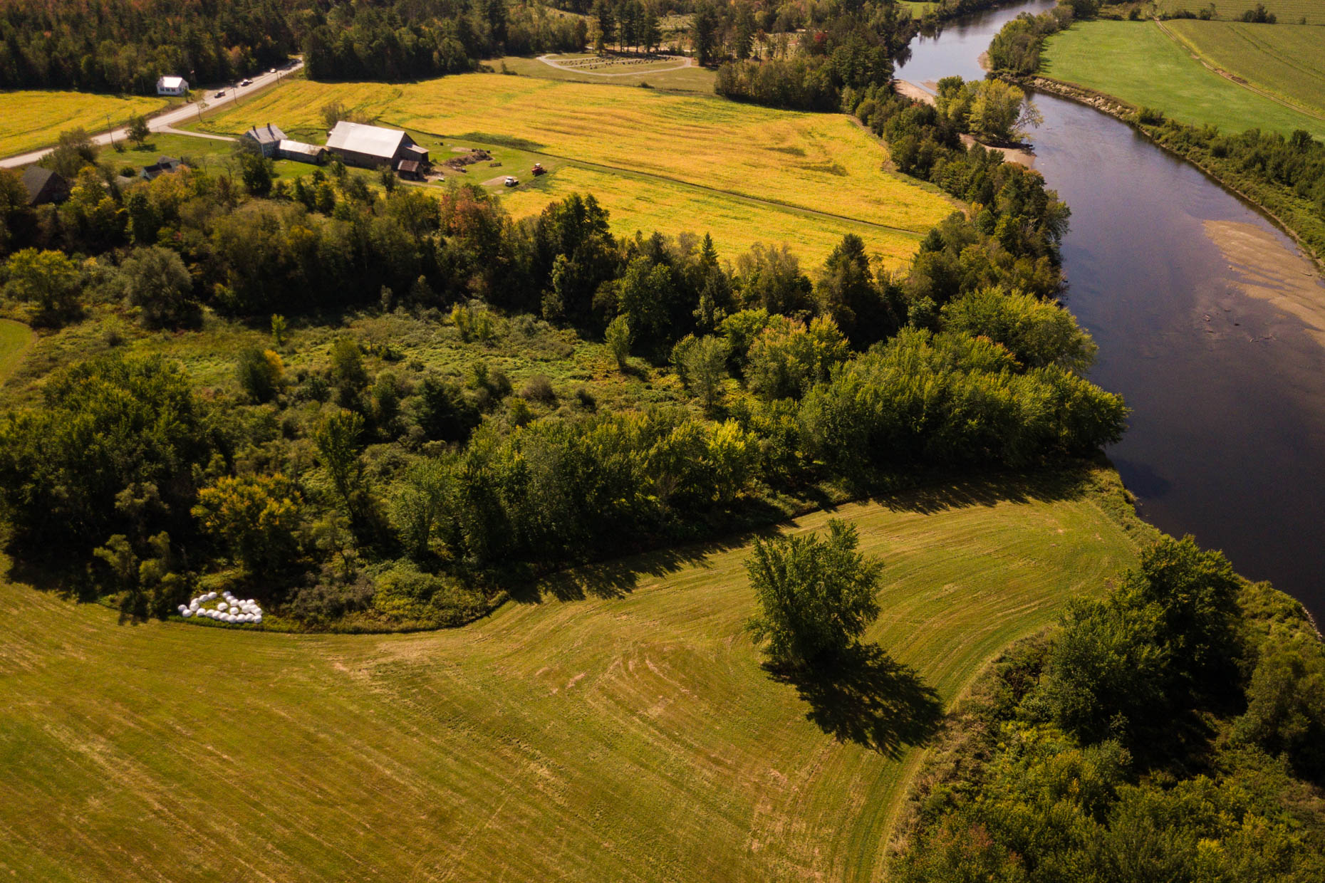 Aerial photograph of farm and river