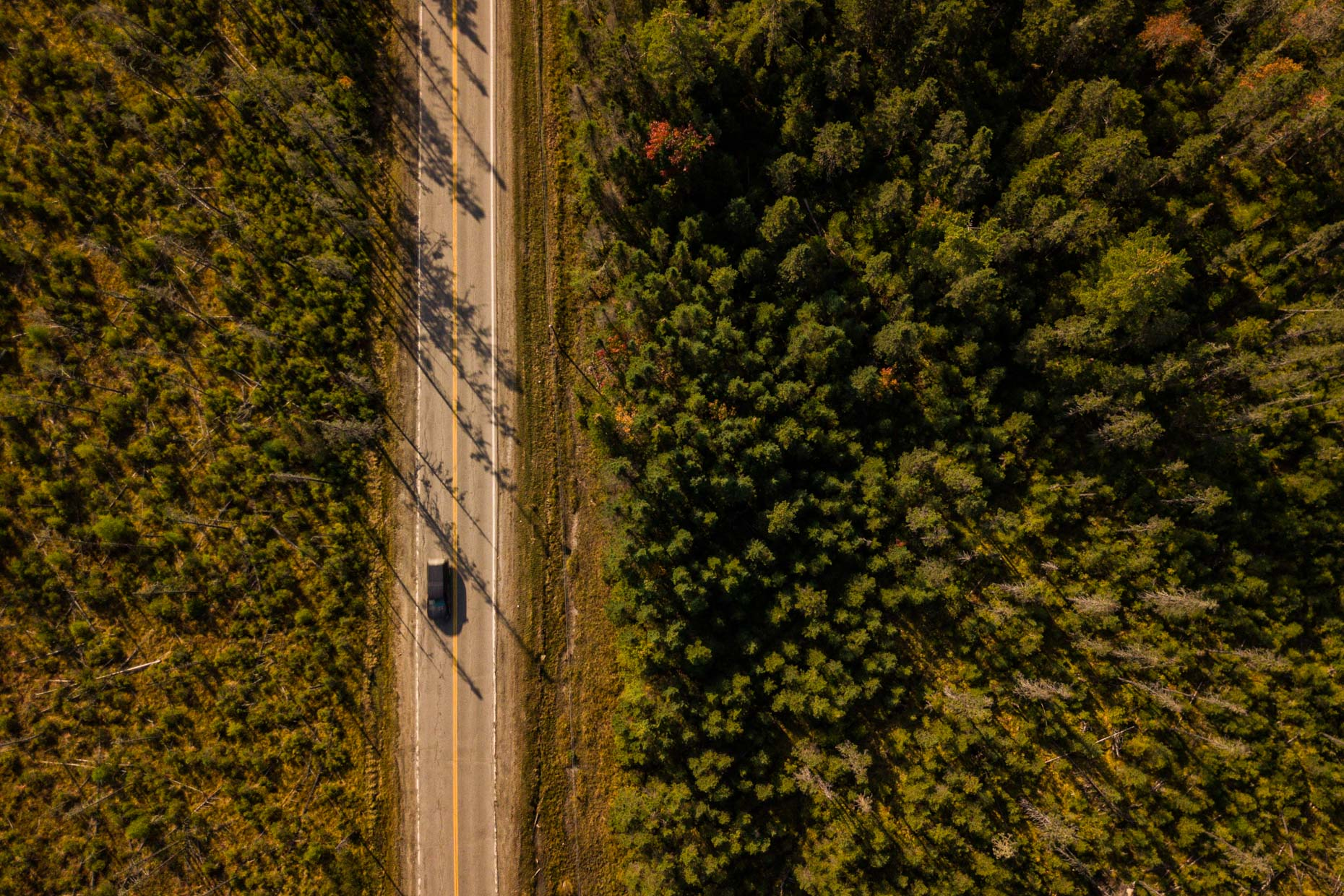 Aerial photograph of a truck on a road