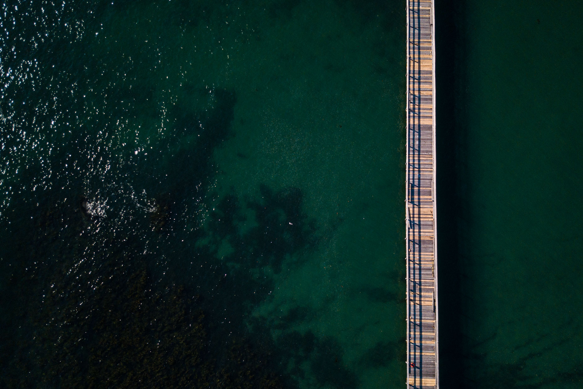 Aerial Photograph of pier in the ocean