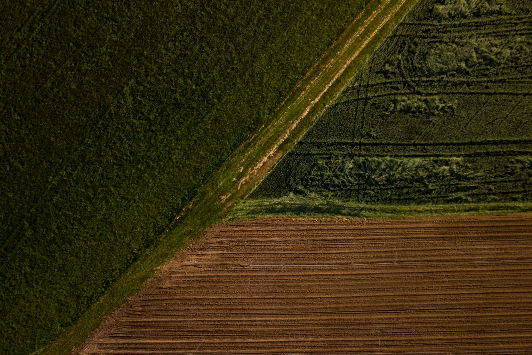 Aerial view of Tilled farm fields